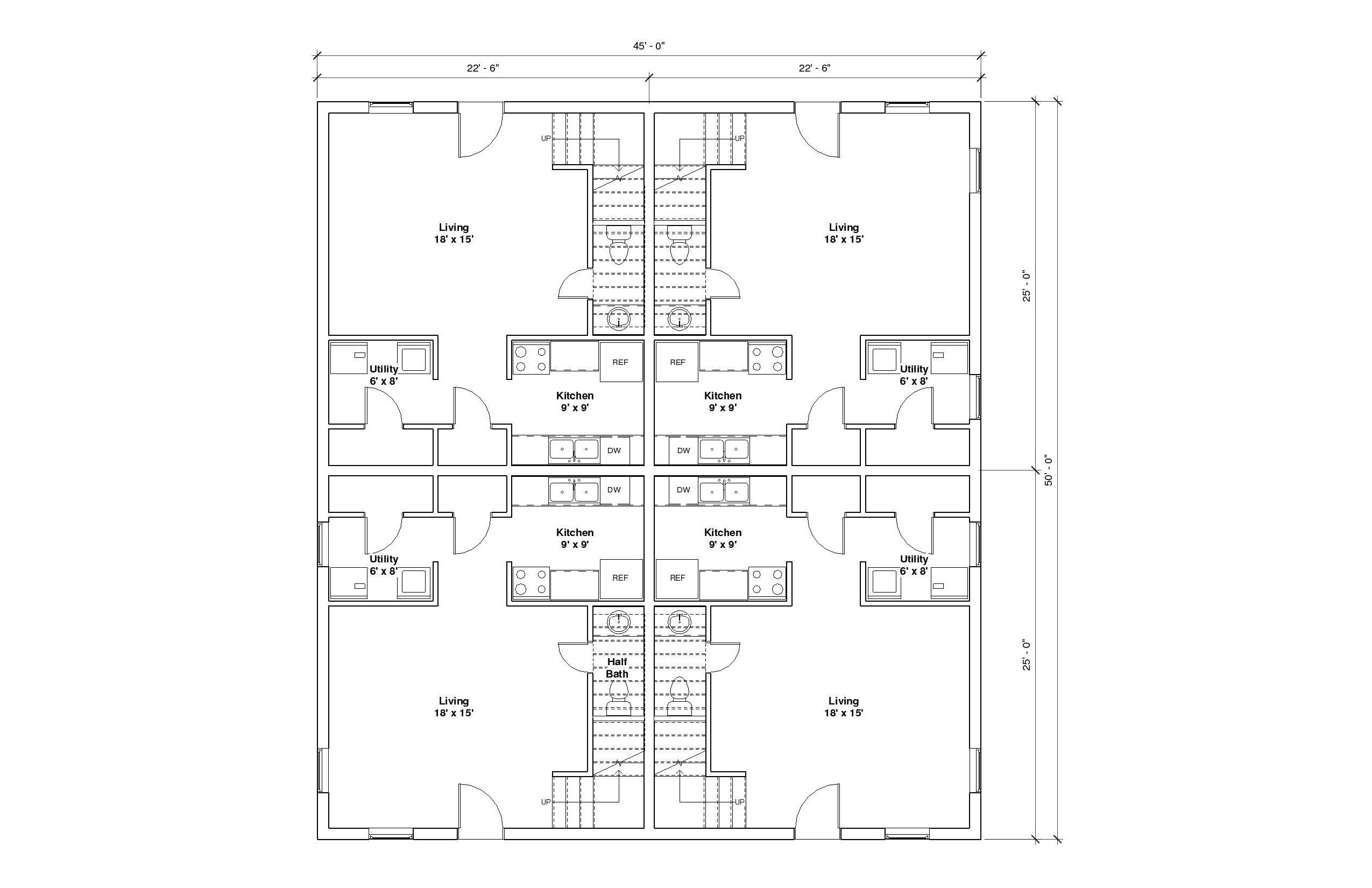 FourPlex A 1st Floor Plan