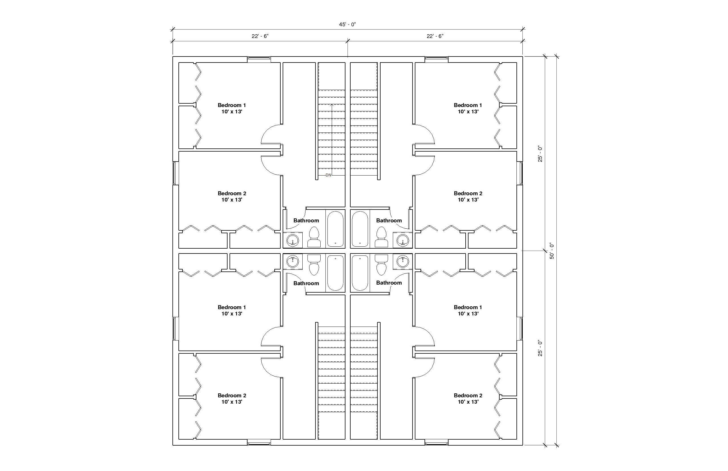 FourPlex A 2nd Floor Plan